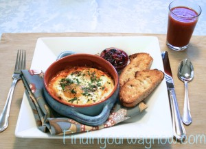 Shirred Eggs With Ham and Tomato Sauce, findingourwaynow.com