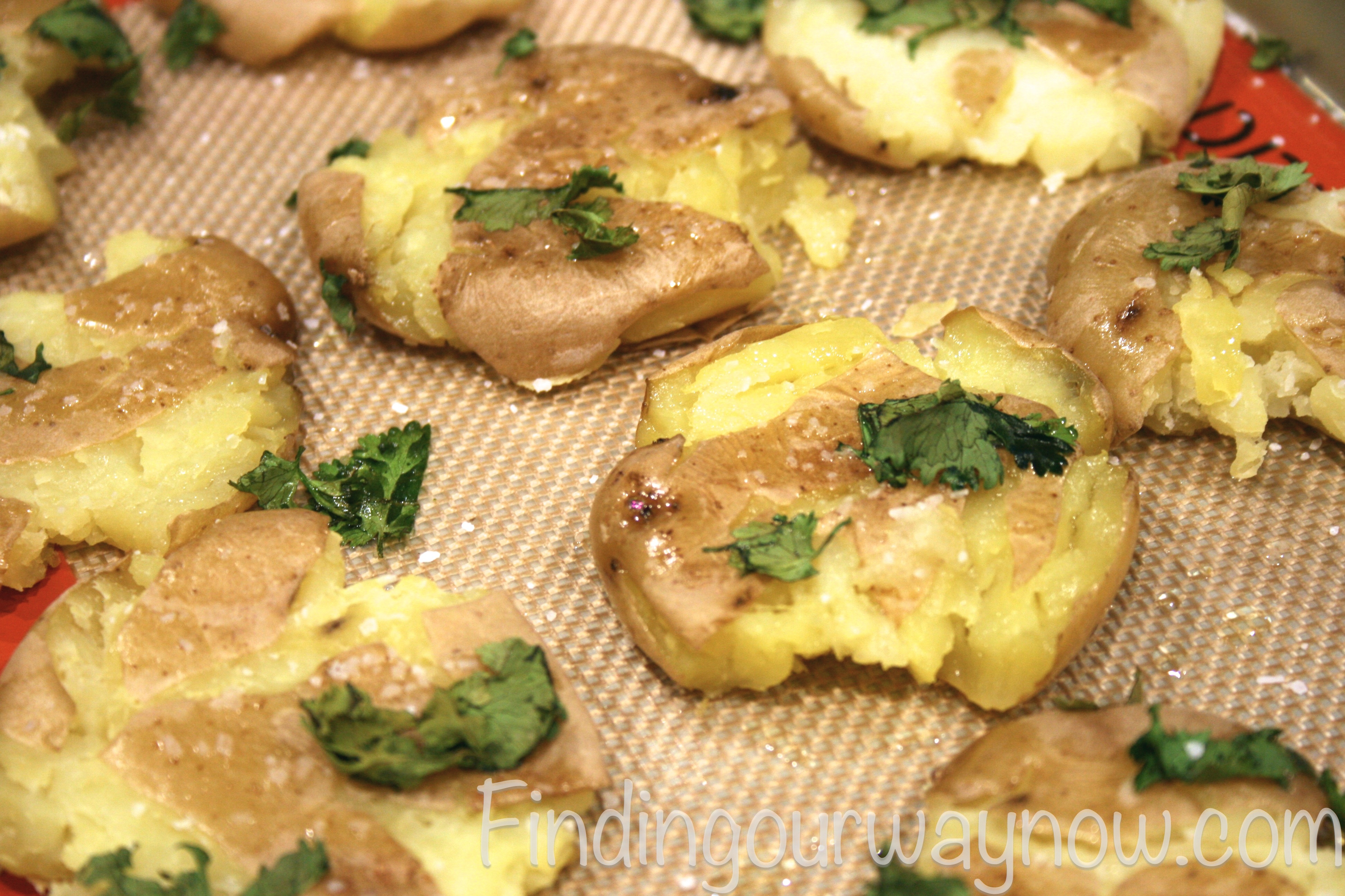 Smashed Lemon Potatoes, findingourwaynow.com