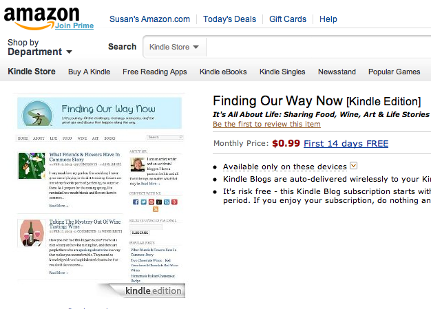 Finding Our Way Now on Amazon Kindle Blogs, findingourwaynow.com
