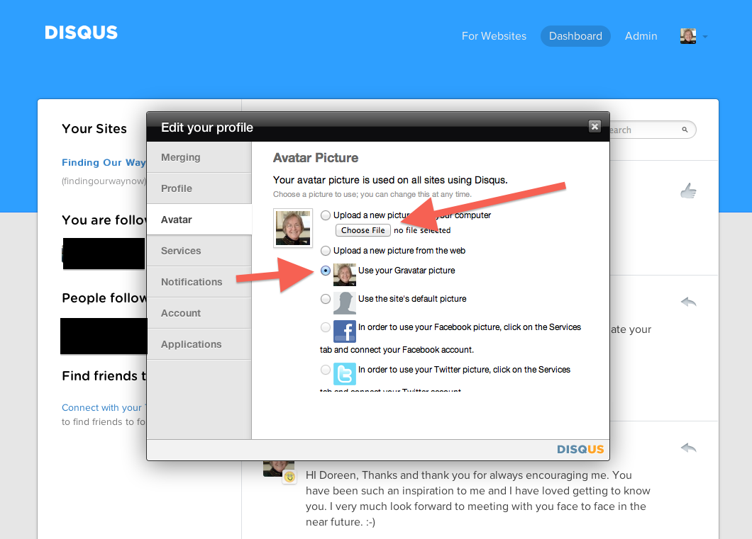 disqus how to change avatar