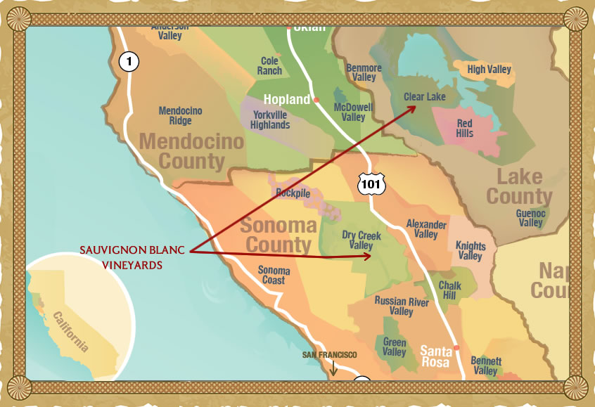 Sonoma Wine Region Map, findingourwaynow.com