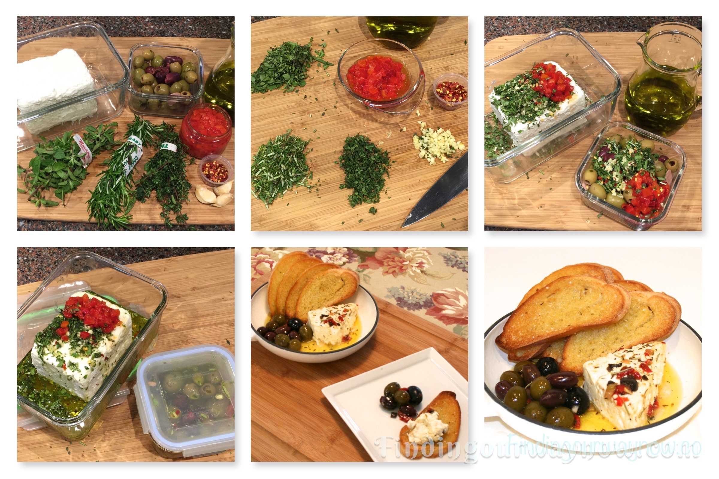 Warm Marinated Feta Cheese with Olives, findingourwaynow.com