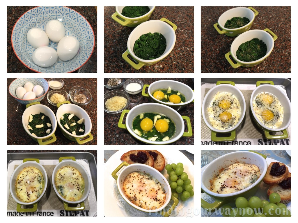 Shirred Eggs with Spinach, findingourwaynow.com