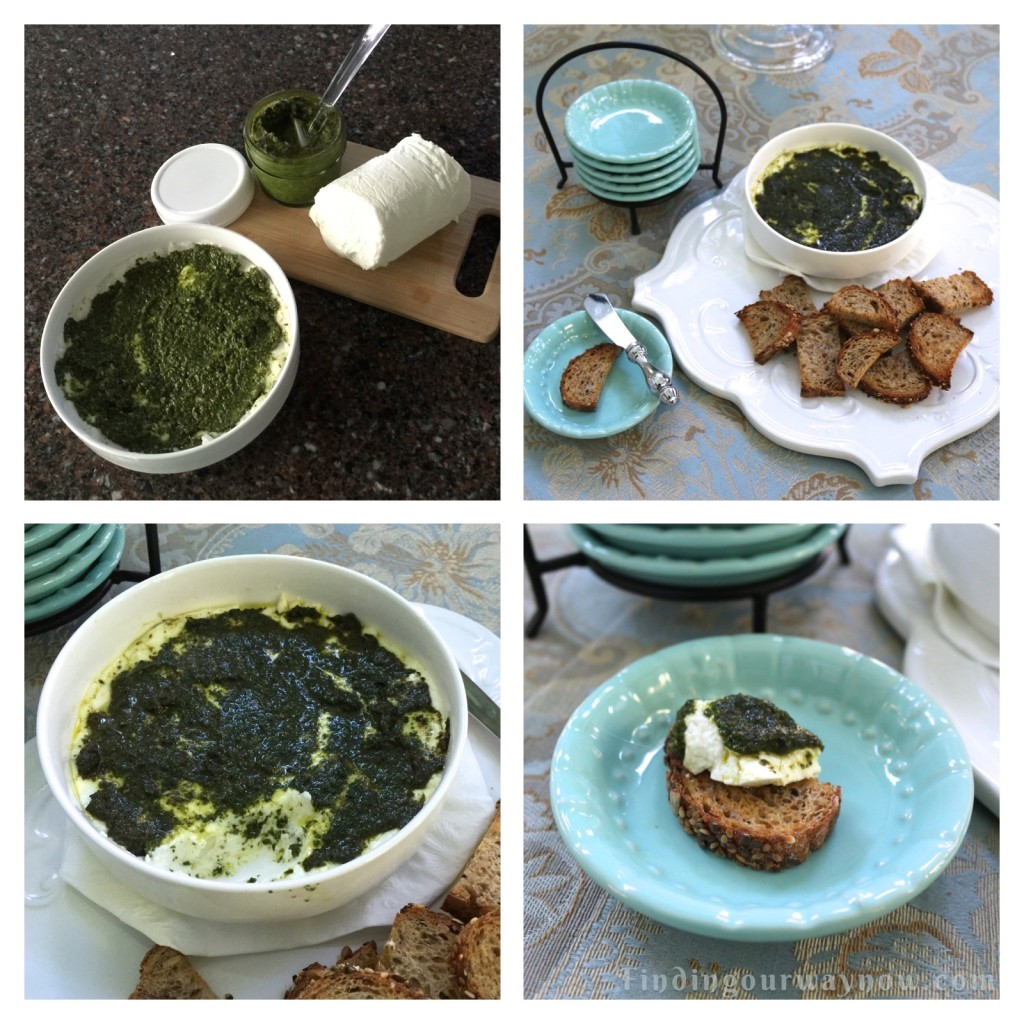Warmed Pesto on Goat Cheese, findingourwaynow.com