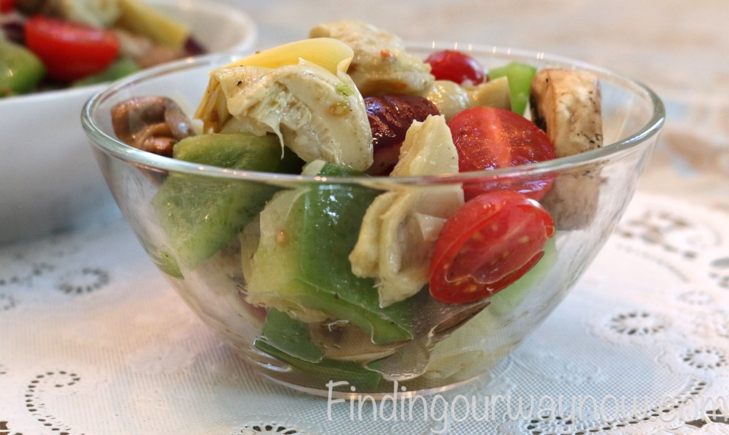 Artichoke and Bell Pepper Salad, findingourwaynow.com