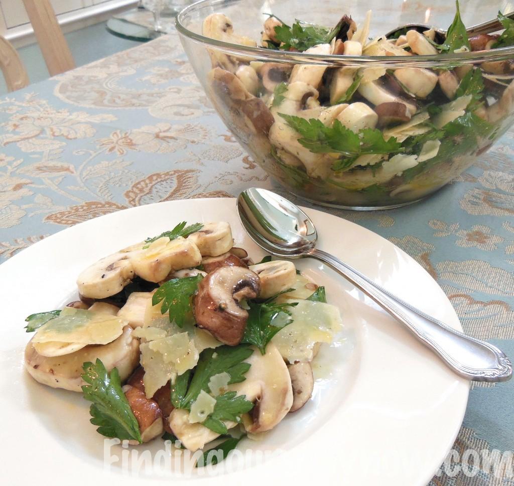 Fresh Mushroom Salad, findingourwaynow.com