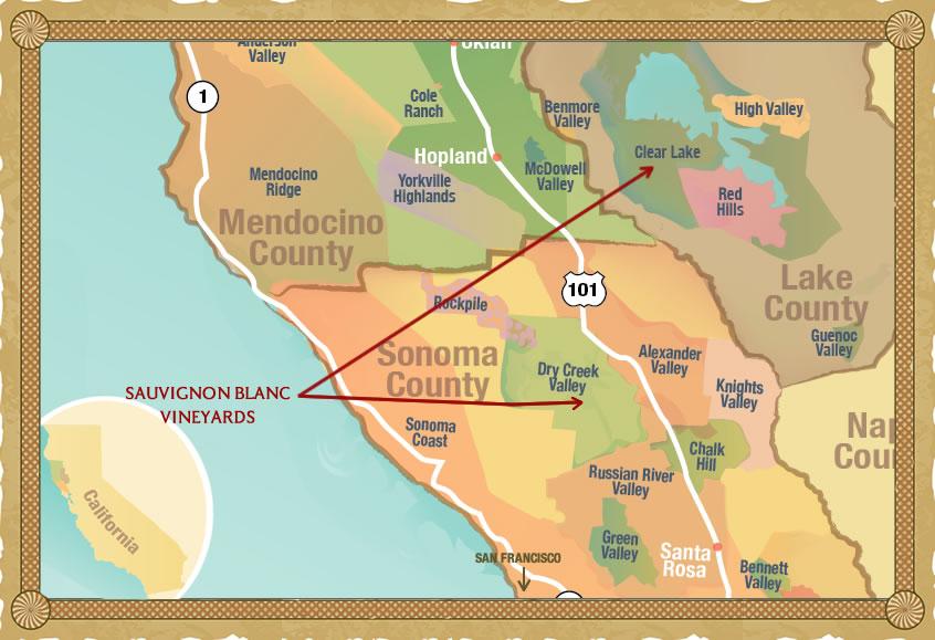 Sonoma Wine Region Map, findingourwaynow.com